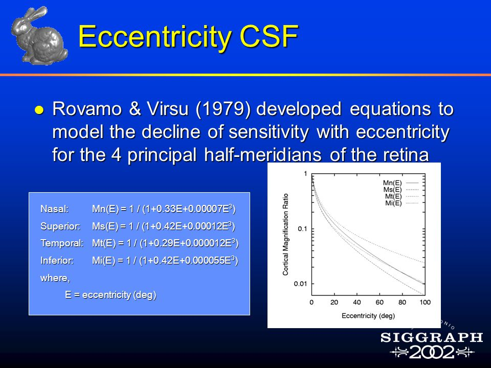 Eccentricity CSF l Rovamo & Virsu (1979) developed equations to model the decline of sensitivity with eccentricity for the 4 principal half-meridians