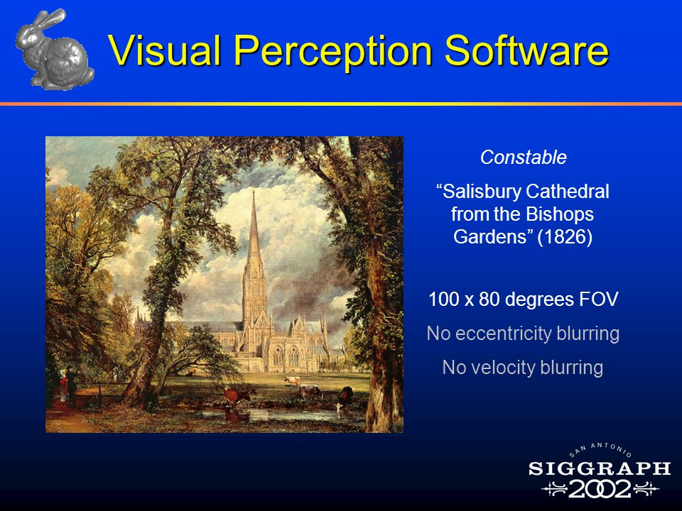 "100 x 80 degrees FOV No eccentricity blurring No velocity blurring Constable ""Salisbury Cathedral from the Bishops Gardens"" (1826) Visual Perception S"