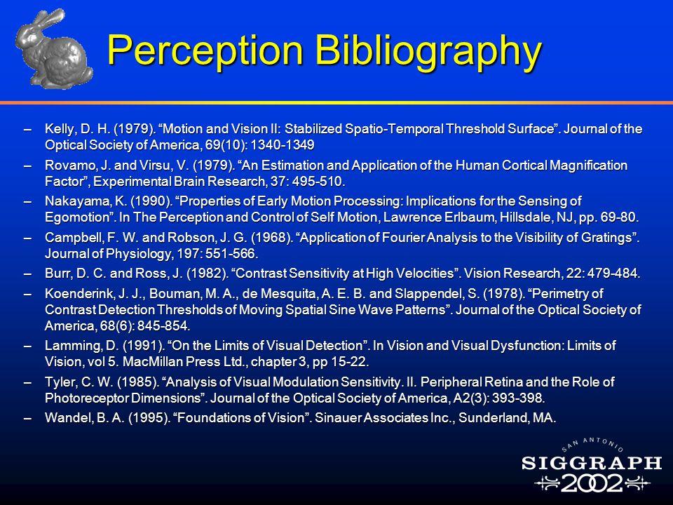 Perception Bibliography –Kelly, D. H. (1979).