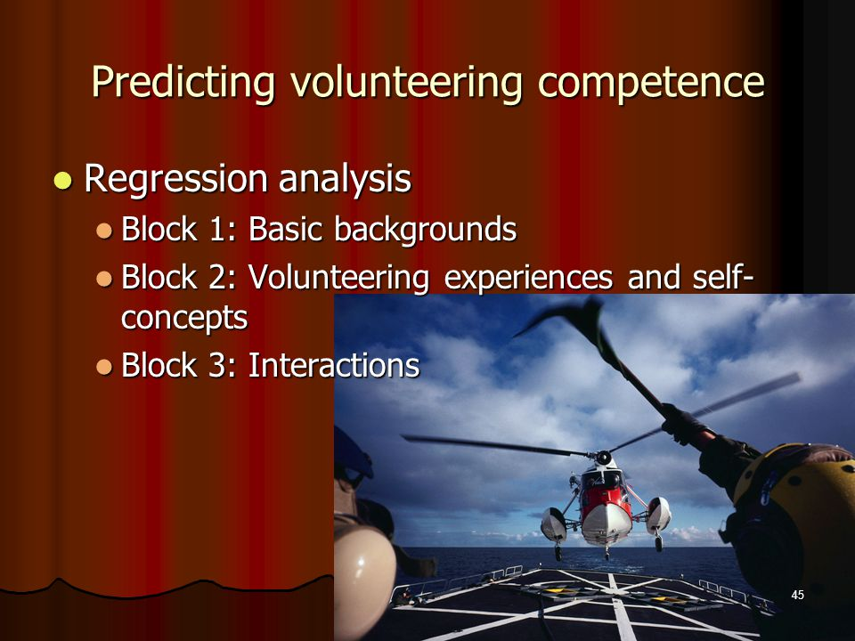 Predicting volunteering competence Regression analysis Regression analysis Block 1: Basic backgrounds Block 1: Basic backgrounds Block 2: Volunteering experiences and self- concepts Block 2: Volunteering experiences and self- concepts Block 3: Interactions Block 3: Interactions 45