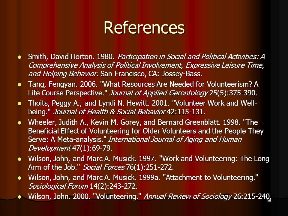 References Smith, David Horton. 1980.