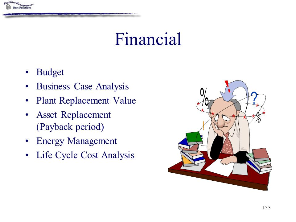 153 Financial Budget Business Case Analysis Plant Replacement Value Asset Replacement (Payback period) Energy Management Life Cycle Cost Analysis