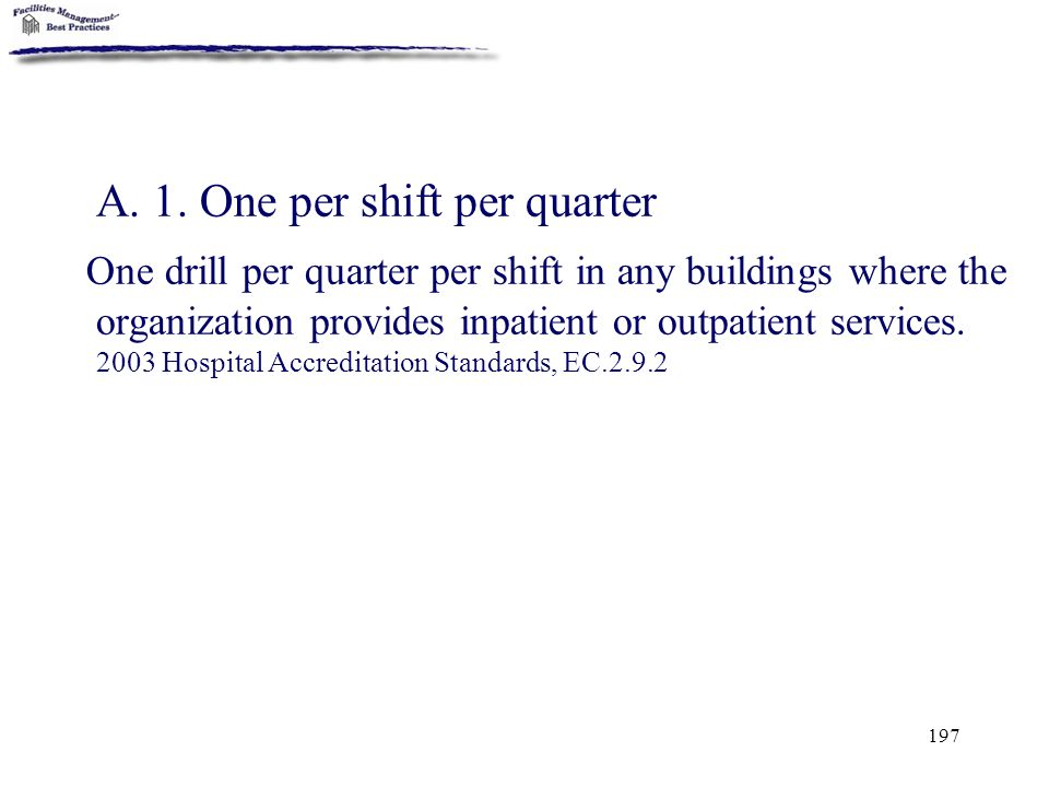 197 A. 1. One per shift per quarter One drill per quarter per shift in any buildings where the organization provides inpatient or outpatient services.
