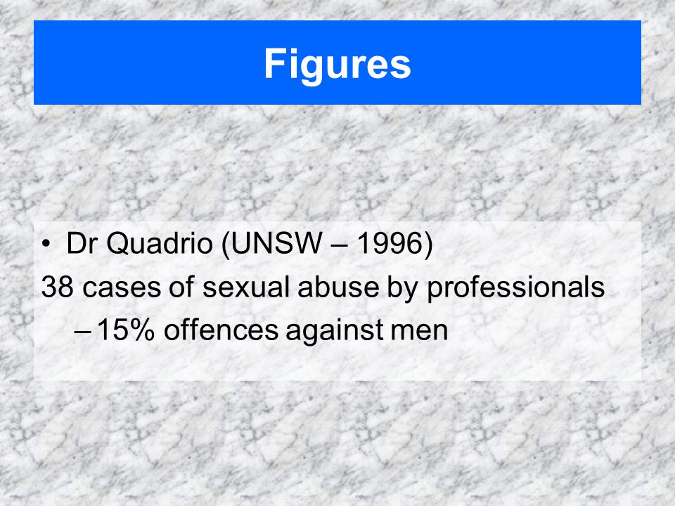 Dr Quadrio (UNSW – 1996) 38 cases of sexual abuse by professionals –15% offences against men Figures