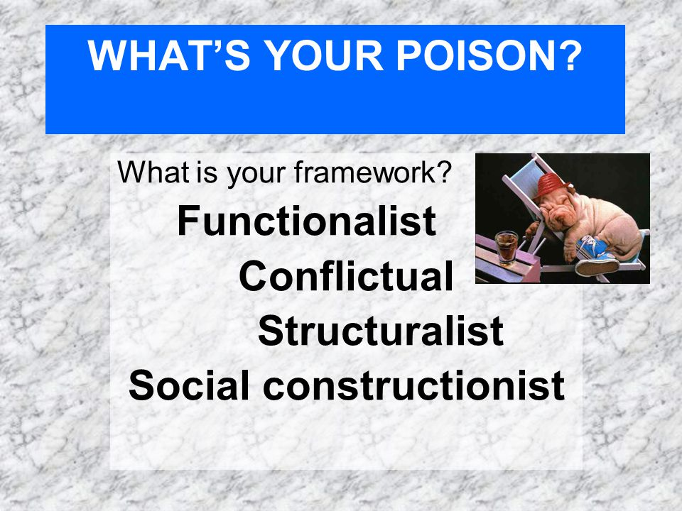 WHAT'S YOUR POISON. What is your framework.