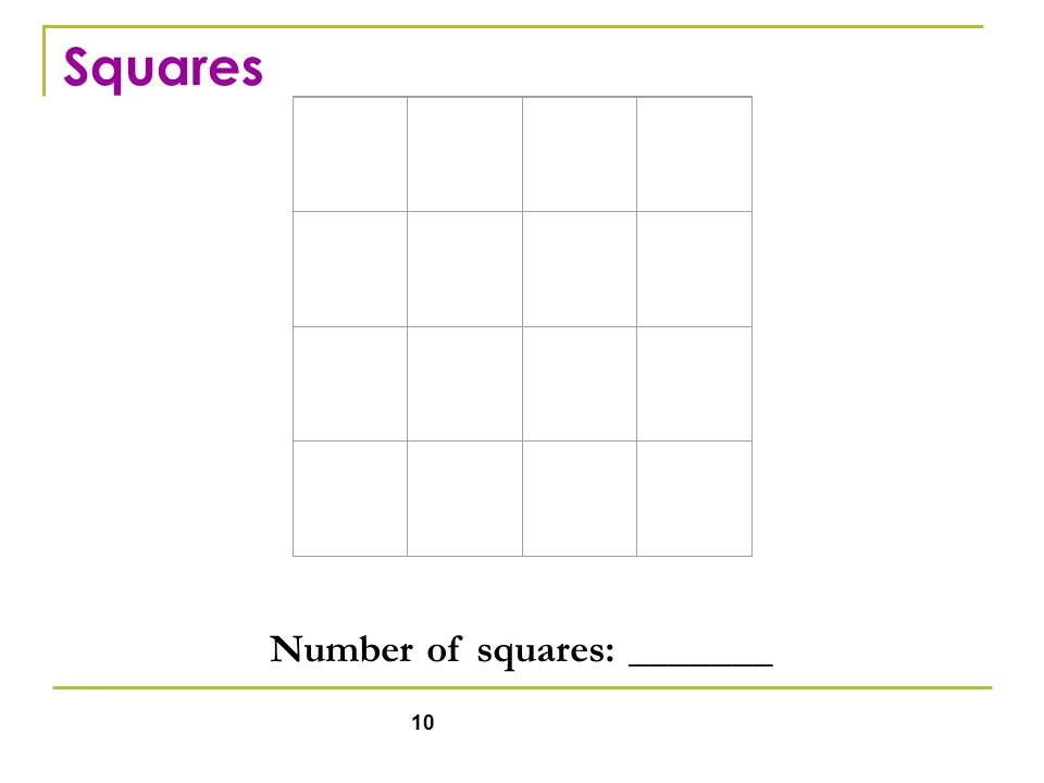 10 Number of squares: _______ Squares