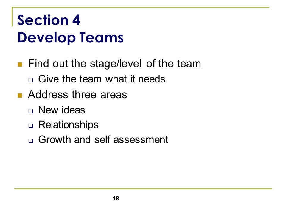 18 Section 4 Develop Teams Find out the stage/level of the team  Give the team what it needs Address three areas  New ideas  Relationships  Growth and self assessment