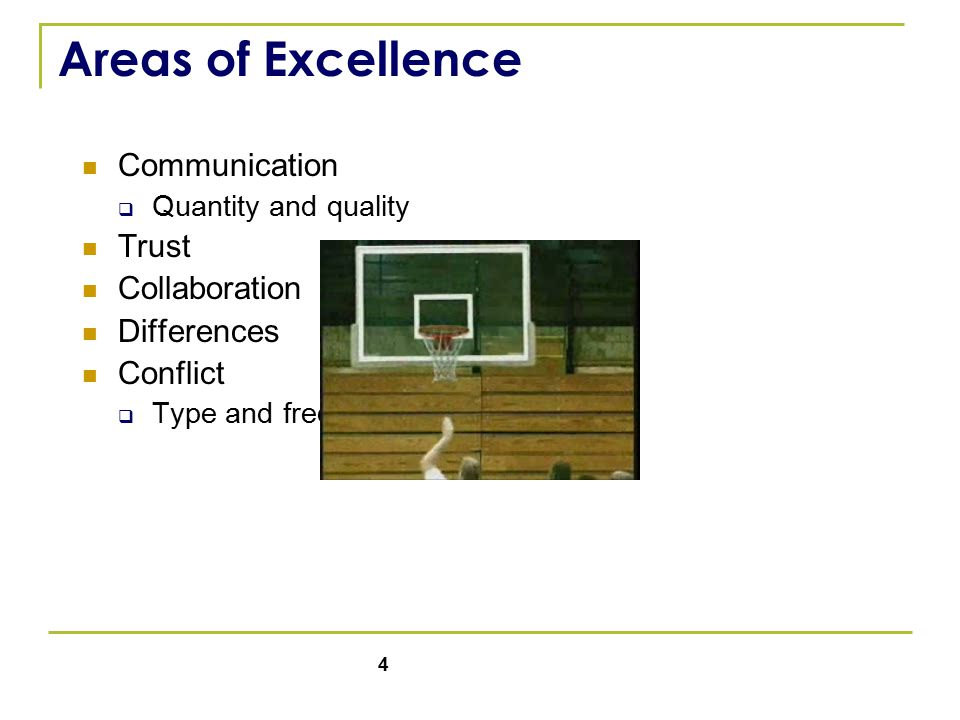 4 Areas of Excellence Communication  Quantity and quality Trust Collaboration Differences Conflict  Type and frequency