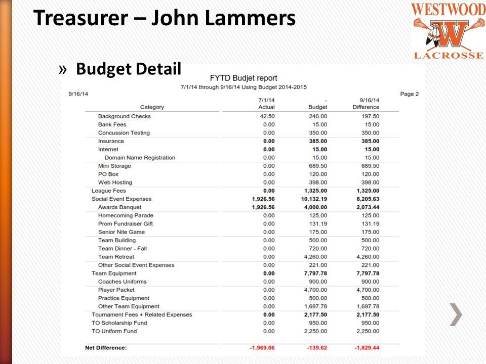 Treasurer – John Lammers » Budget Detail