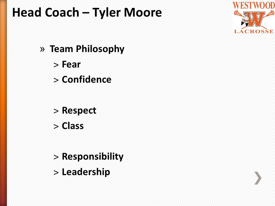 Head Coach – Tyler Moore » Team Philosophy ˃Fear ˃Confidence ˃Respect ˃Class ˃Responsibility ˃Leadership