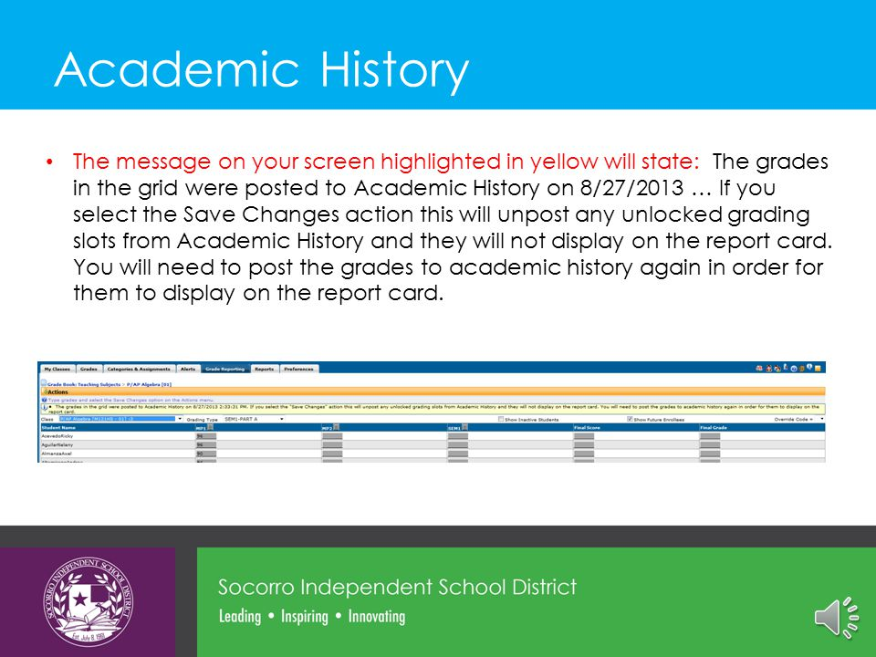 Click Actions and Save Changes Then click Post to Academic History