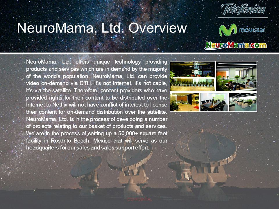NeuroMama, Ltd. offers unique technology providing products and services which are in demand by the majority of the world's population. NeuroMama, Ltd