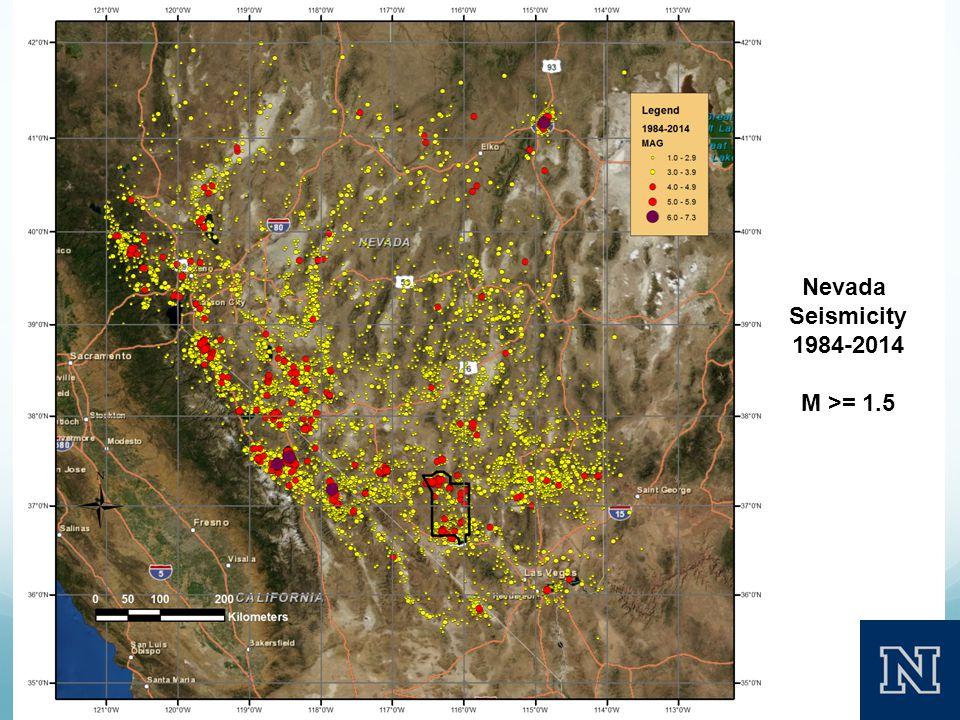 Nevada Seismicity 1984-2014 M >= 1.5