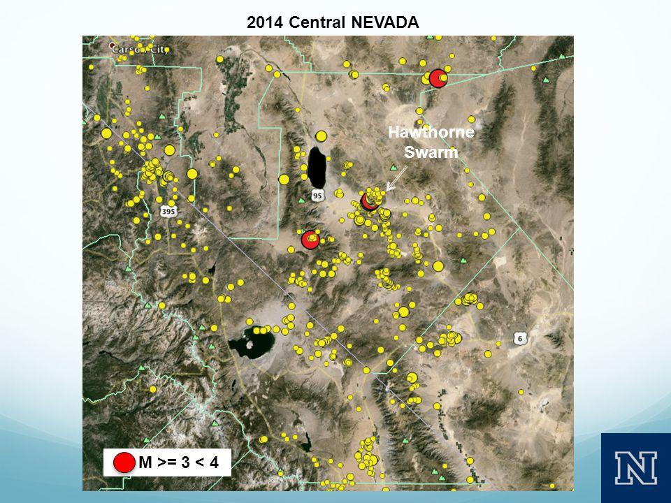 M >= 3 < 4 2014 Central NEVADA Hawthorne Swarm