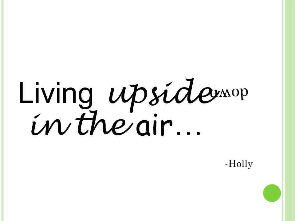 Living upside in the air … -Holly down