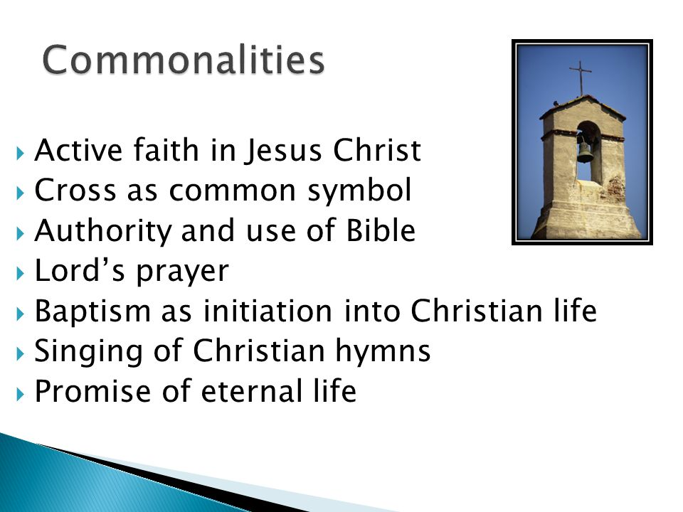  Active faith in Jesus Christ  Cross as common symbol  Authority and use of Bible  Lord's prayer  Baptism as initiation into Christian life  Singing of Christian hymns  Promise of eternal life