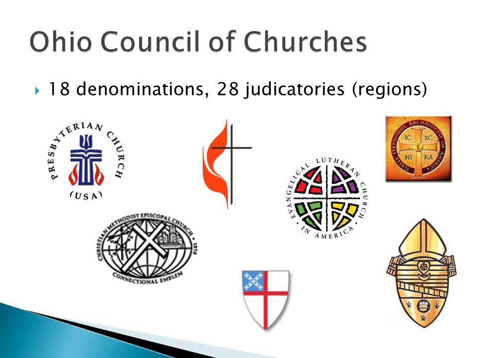  18 denominations, 28 judicatories (regions)