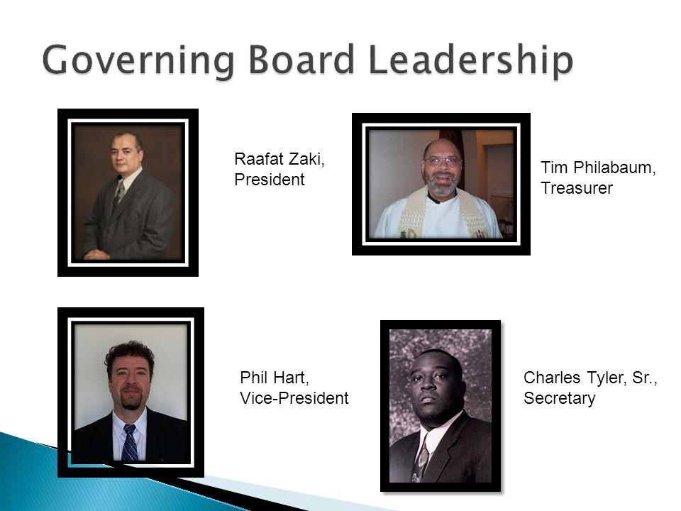 Raafat Zaki, President Tim Philabaum, Treasurer Phil Hart, Vice-President Charles Tyler, Sr., Secretary