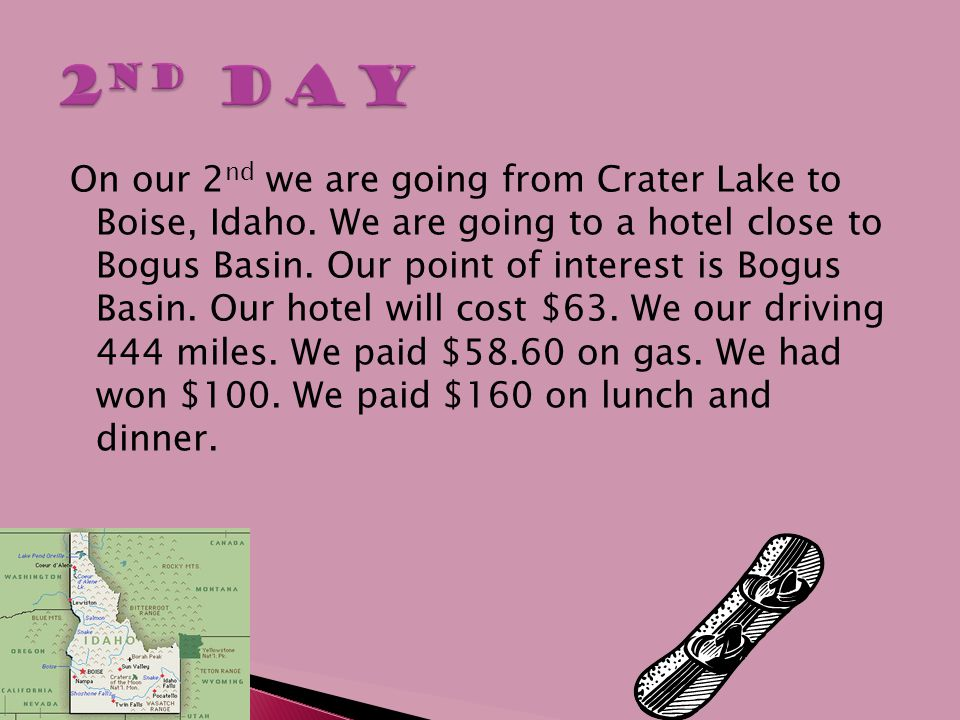  We are going from Boise, Idaho, to Salt lake City, Utah.