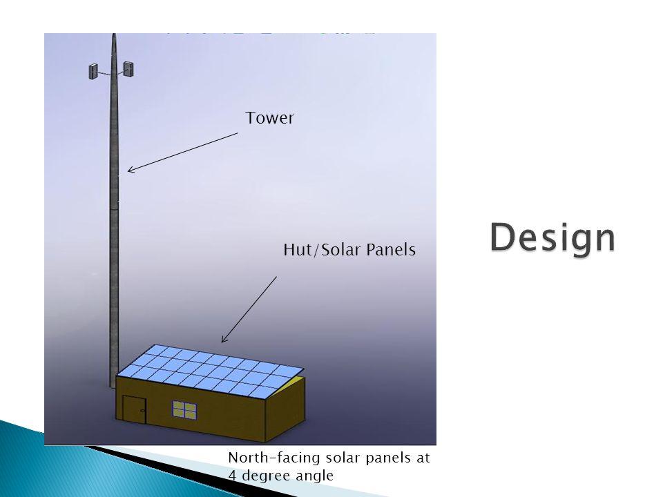 Tower Hut/Solar Panels North-facing solar panels at 4 degree angle