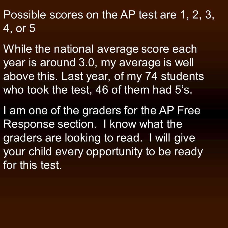 Possible scores on the AP test are 1, 2, 3, 4, or 5 While the national average score each year is around 3.0, my average is well above this. Last year
