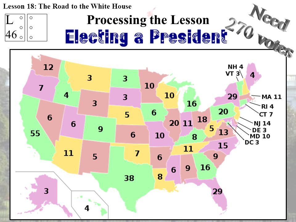 Processing the Lesson What is the FEWEST states needed to be elected the President of the United States? L 46 Lesson 18: The Road to the White House