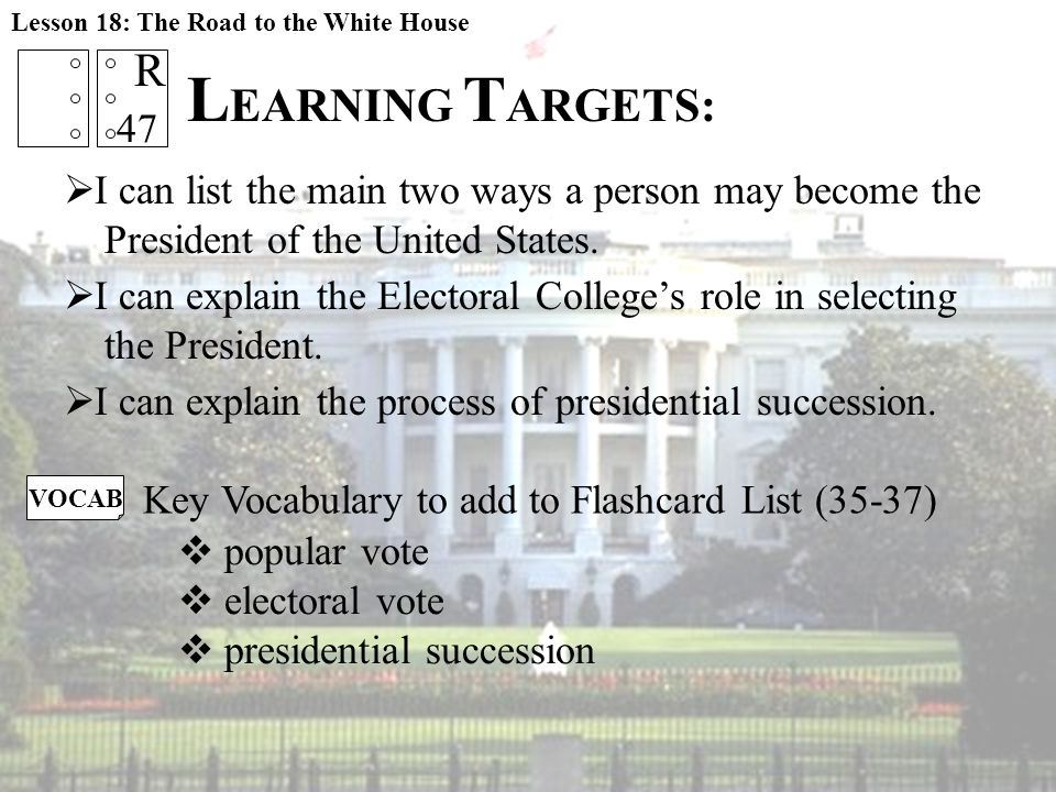  I can list the main two ways a person may become the President of the United States.  I can explain the Electoral College's role in selecting the P