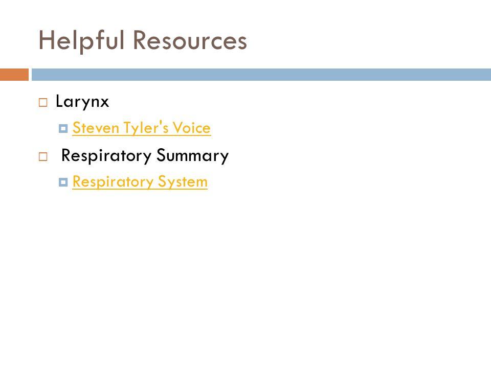 Helpful Resources  Larynx  Steven Tyler's Voice Steven Tyler's Voice  Respiratory Summary  Respiratory System Respiratory System