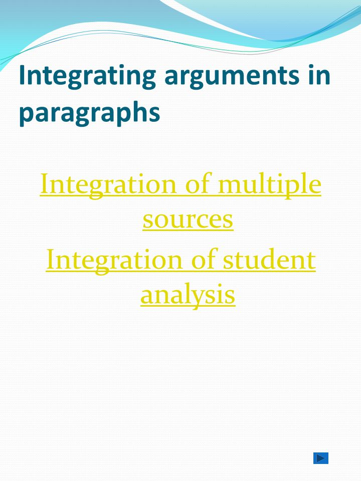 Paragraphs cont… student analysis of the research where appropriate summing up and linking to the next idea (paragraph).