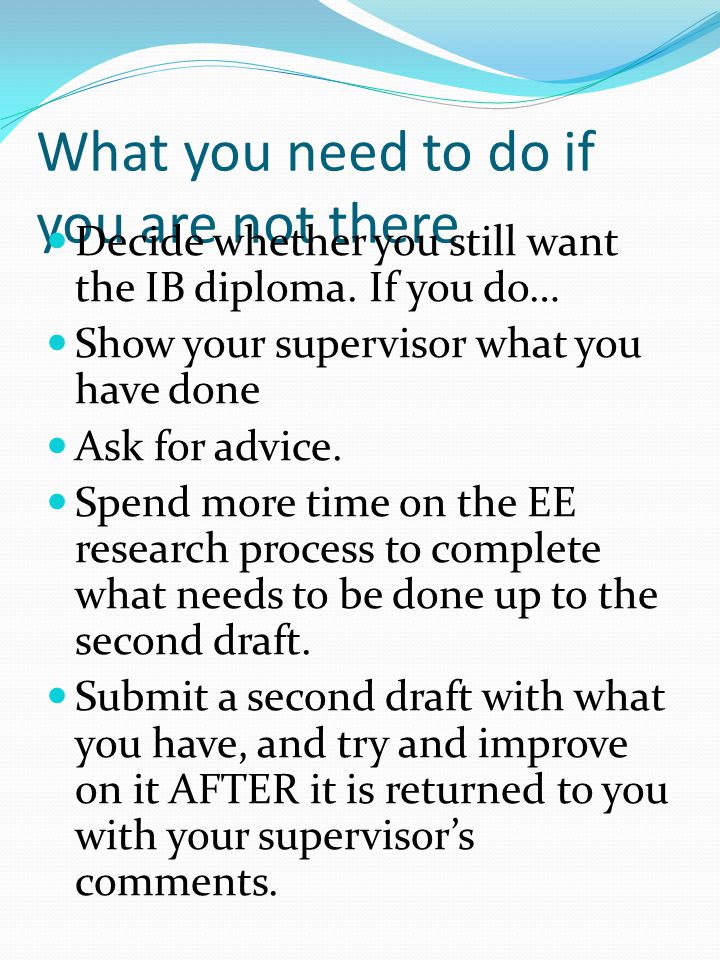 Where should you be in the EE process by MAY.