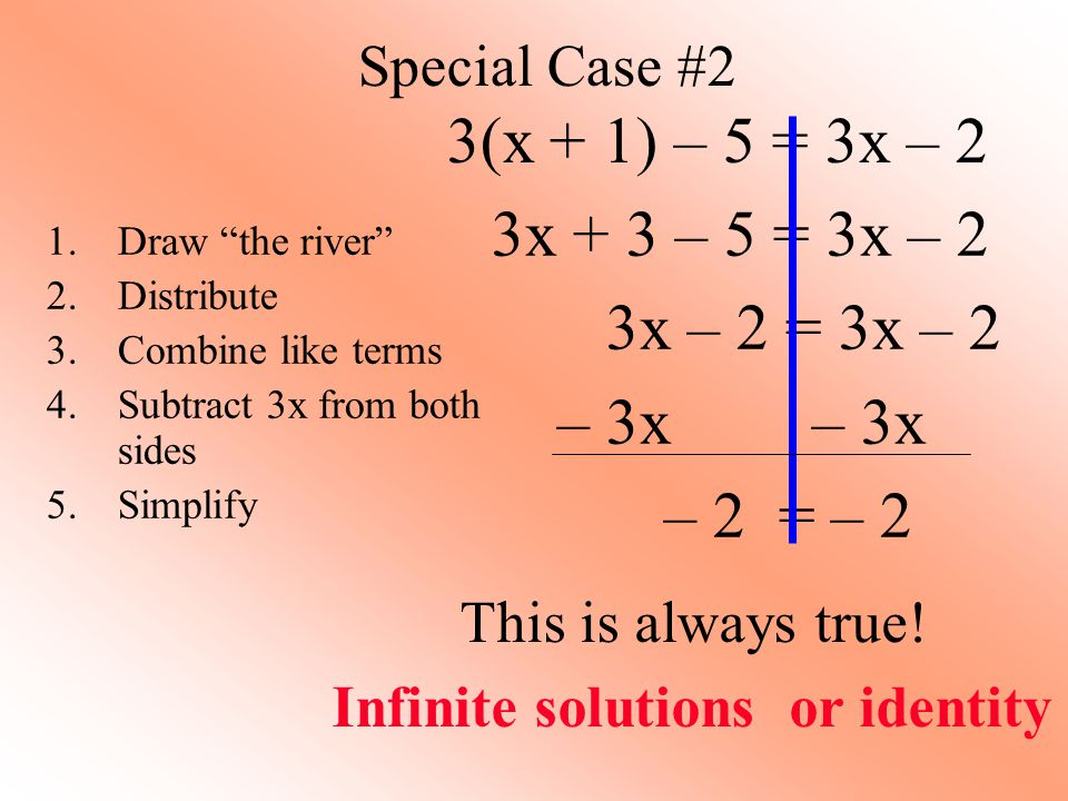 Special Case #2 3(x + 1) – 5 = 3x – 2 3x + 3 – 5 = 3x – 2 3x – 2 = 3x – 2 – 3x – 3x – 2 = – 2 1.Draw the river 2.Distribute 3.Combine like terms 4.Subtract 3x from both sides 5.Simplify This is always true.