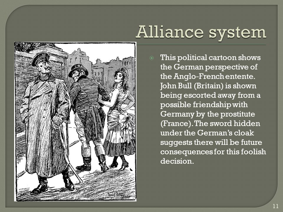  This political cartoon shows the German perspective of the Anglo-French entente. John Bull (Britain) is shown being escorted away from a possible fr