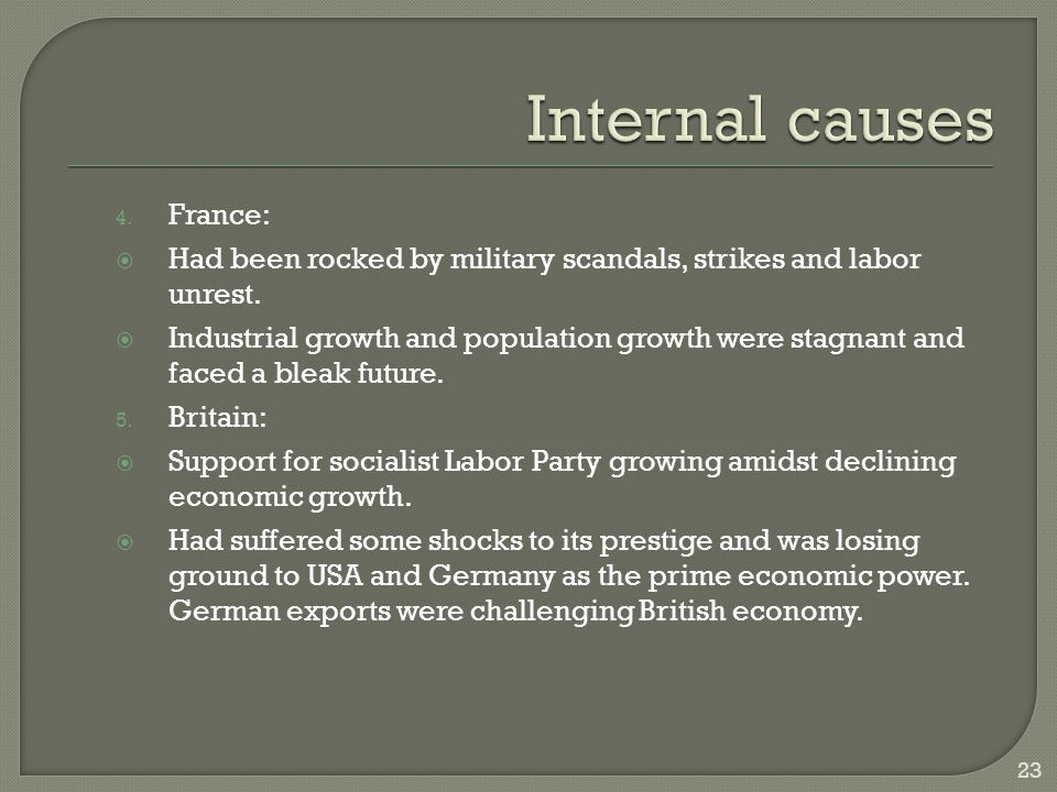 4. France:  Had been rocked by military scandals, strikes and labor unrest.  Industrial growth and population growth were stagnant and faced a bleak