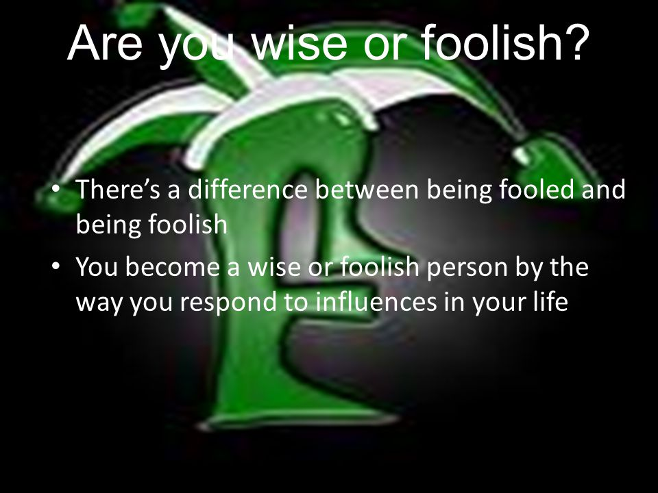 Are you wise or foolish.