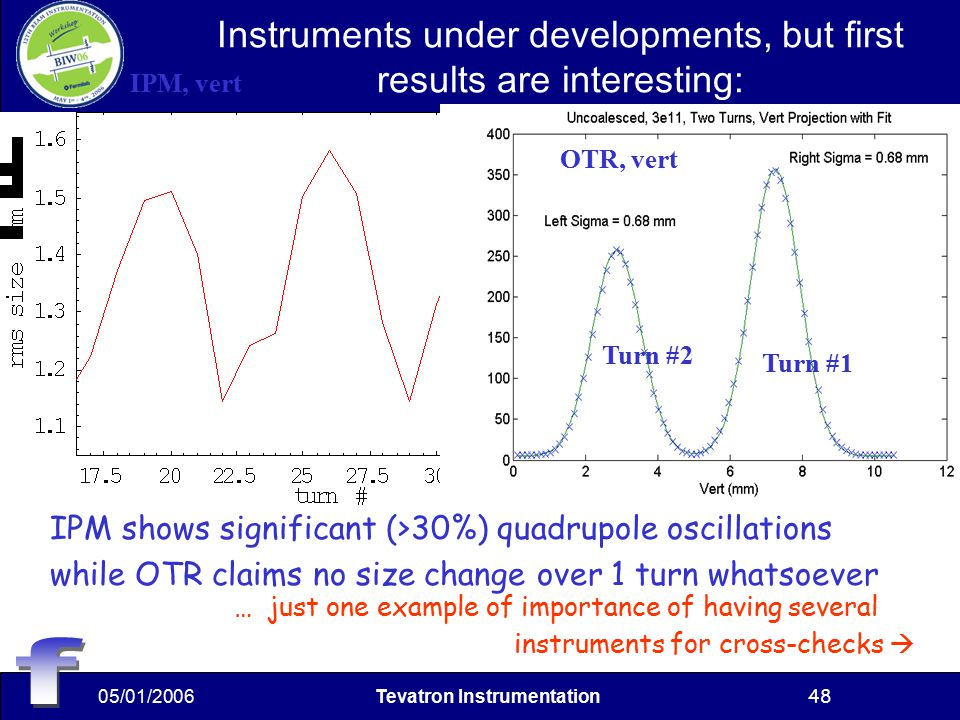 05/01/2006Tevatron Instrumentation48 Instruments under developments, but first results are interesting: IPM shows significant (>30%) quadrupole oscillations while OTR claims no size change over 1 turn whatsoever OTR, vert Turn #1 IPM, vert Turn #2 … just one example of importance of having several instruments for cross-checks 