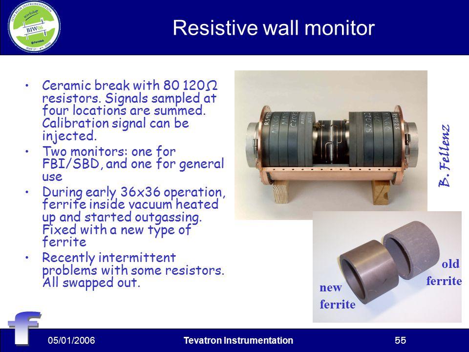 05/01/2006Tevatron Instrumentation55 Resistive wall monitor Ceramic break with 80 120Ω resistors.