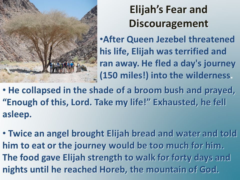 Elijah's Fear and Discouragement He collapsed in the shade of a broom bush and prayed, Enough of this, Lord.