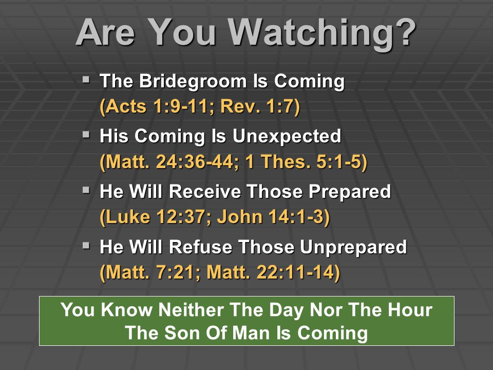Are You Watching.  The Bridegroom Is Coming (Acts 1:9-11; Rev.