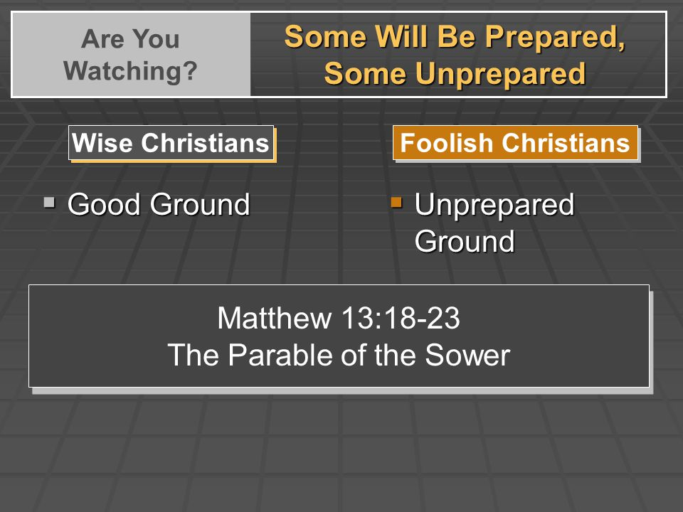  Good Ground Wise Christians Foolish Christians  Unprepared Ground Matthew 13:18-23 The Parable of the Sower Matthew 13:18-23 The Parable of the Sower Some Will Be Prepared, Some Unprepared Are You Watching