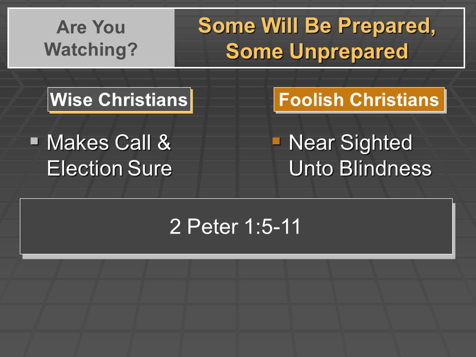 Some Will Be Prepared, Some Unprepared Are You Watching.