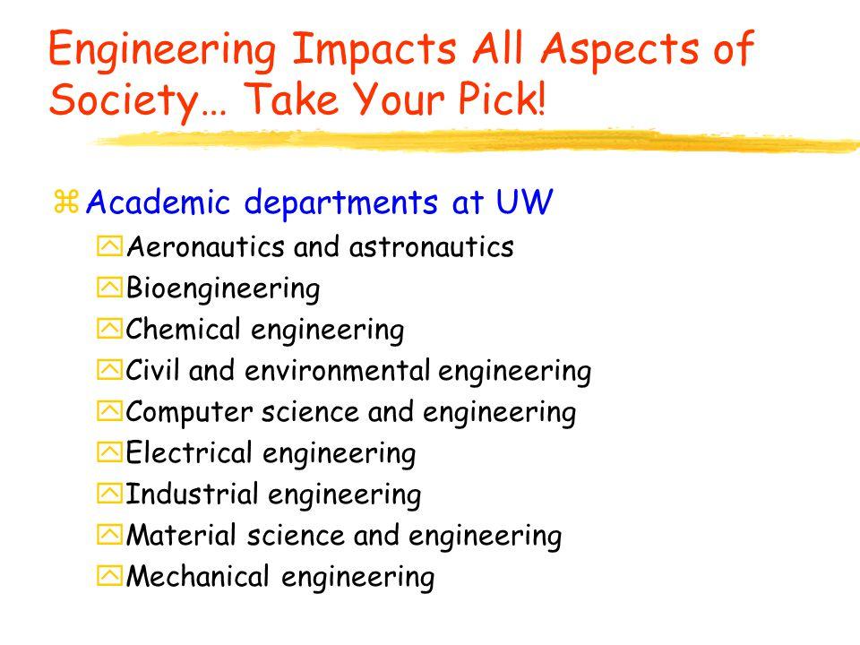Engineering Impacts All Aspects of Society… Take Your Pick! zAcademic departments at UW yAeronautics and astronautics yBioengineering yChemical engine