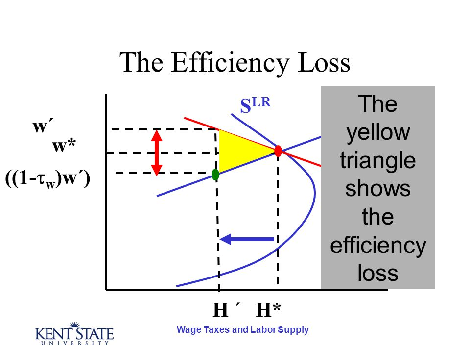 Wage Taxes and Labor Supply The Efficiency Loss D S SR S LR H* w* H ´ ((1-  w )w´) w´w´ The yellow triangle shows the efficiency loss