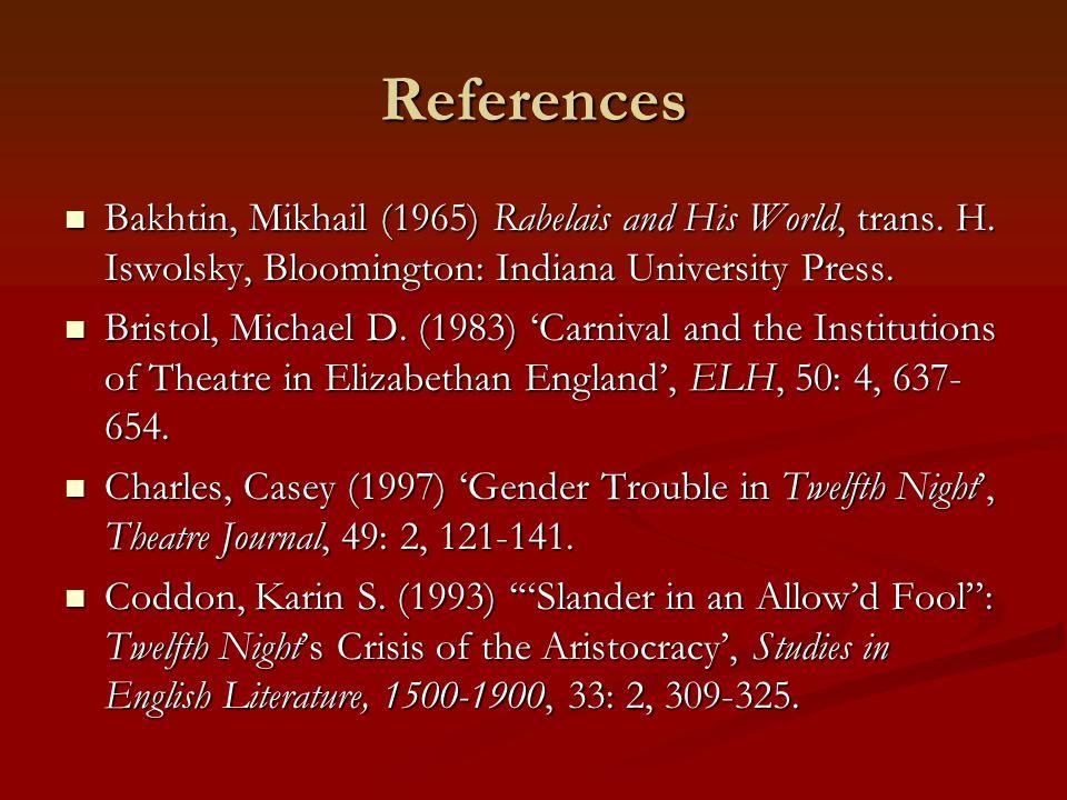 References Bakhtin, Mikhail (1965) Rabelais and His World, trans. H. Iswolsky, Bloomington: Indiana University Press. Bakhtin, Mikhail (1965) Rabelais