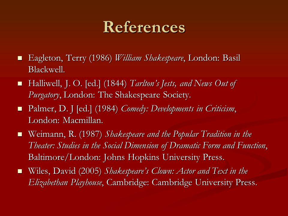 References Eagleton, Terry (1986) William Shakespeare, London: Basil Blackwell. Eagleton, Terry (1986) William Shakespeare, London: Basil Blackwell. H