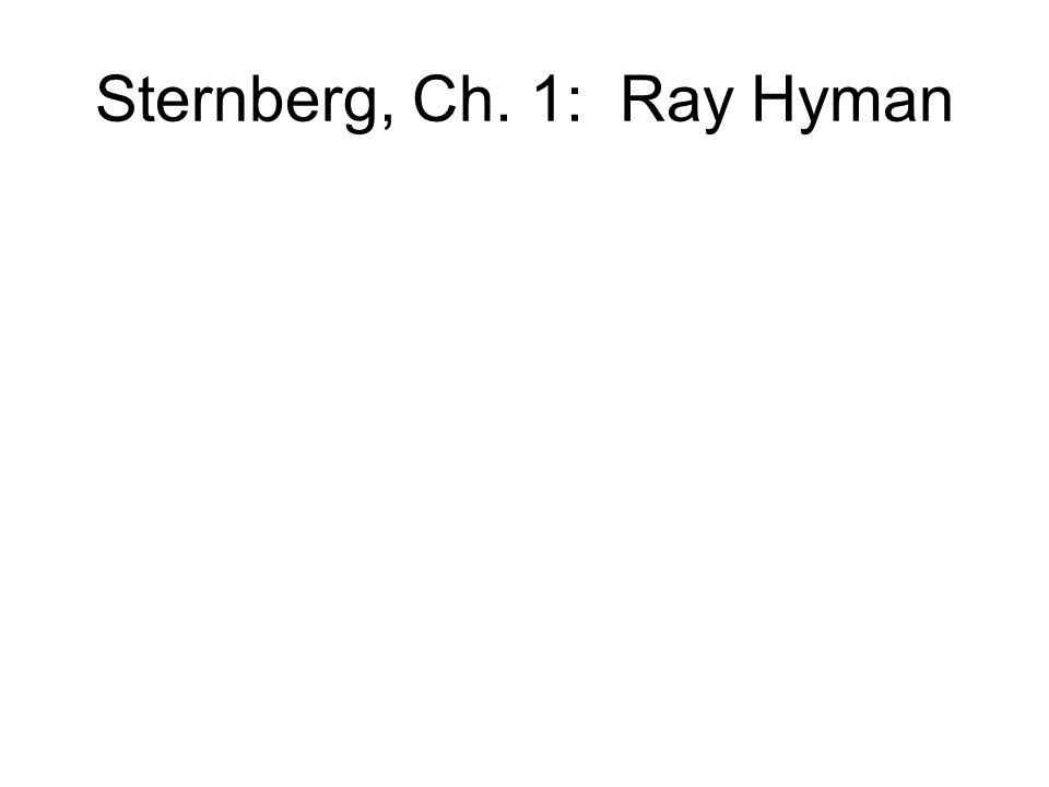Sternberg, Ch. 1: Ray Hyman