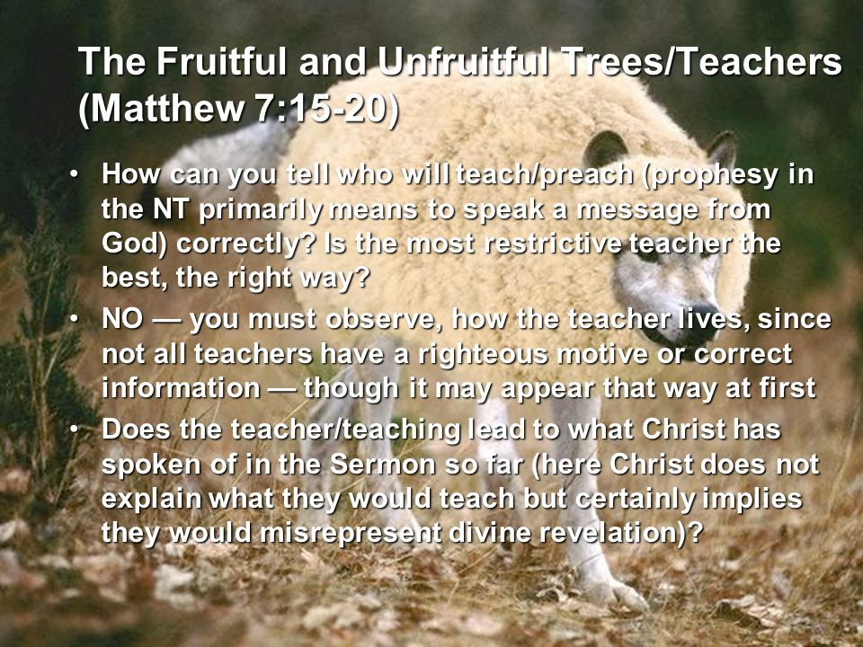 The Fruitful and Unfruitful Trees/Teachers (Matthew 7:15-20) How can you tell who will teach/preach (prophesy in the NT primarily means to speak a mes