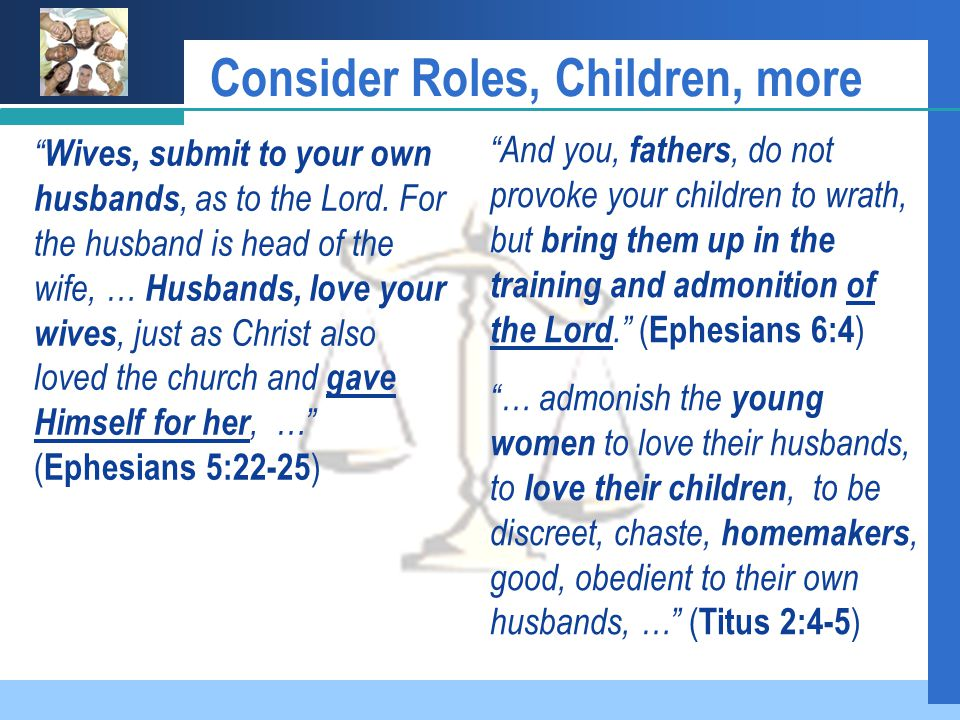 Consider Roles, Children, more Wives, submit to your own husbands, as to the Lord.