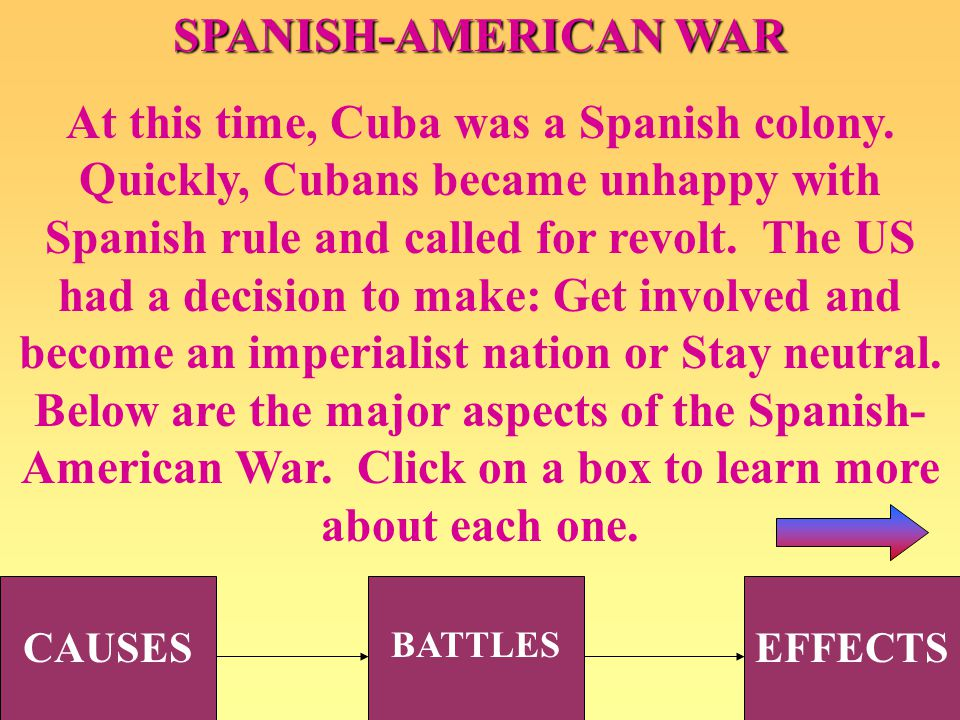 SPANISH-AMERICAN WAR At this time, Cuba was a Spanish colony. Quickly, Cubans became unhappy with Spanish rule and called for revolt. The US had a dec