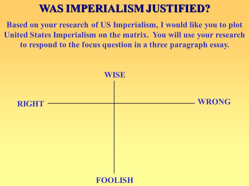 FOOLISH WISE WRONG RIGHT WAS IMPERIALISM JUSTIFIED? Based on your research of US Imperialism, I would like you to plot United States Imperialism on th