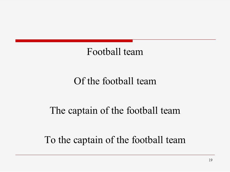 19 Football team Of the football team The captain of the football team To the captain of the football team